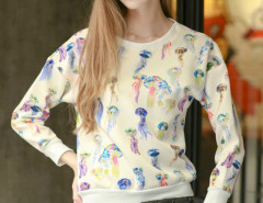 White Jellyfish Print Long Sleeve Sweatshirt Choies.com online fashion store United Kingdom Europe