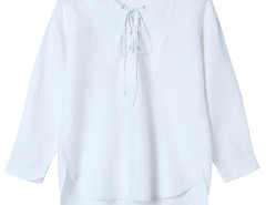 White Lace Up Front 3/4 Sleeve Dipped Back Blouse Choies.com online fashion store United Kingdom Europe