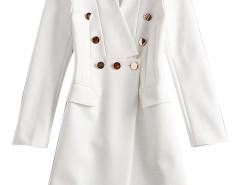 White Lapel Button Embellished Pocket Detail Longline Blazer Choies.com online fashion store United Kingdom Europe