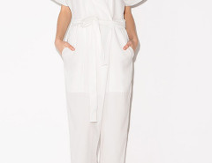 White Lapel Tie Waist Jumpsuit Choies.com online fashion store United Kingdom Europe