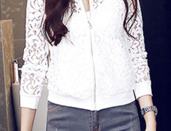 White Laser Cut Long Sleeve Bomber Jacket Choies.com online fashion store United Kingdom Europe