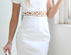 White Lattice Cut Out Short Sleeve Bodycon Dress Choies.com online fashion store United Kingdom Europe