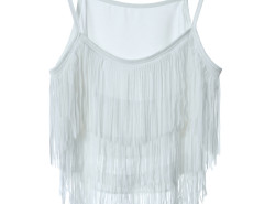 White Layer Tassel Transparent Cami Crop Vest Choies.com online fashion store United Kingdom Europe