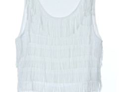 White Layer Tassel Transparent Crop Vest Choies.com online fashion store United Kingdom Europe