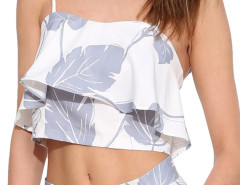 White Leaf Print Spaghetti Strap Sweetheart Ruffle Crop Top Choies.com online fashion store United Kingdom Europe