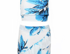 White Leaves Print Hi-lo Crop Top And Asymmetric Skirt Choies.com online fashion store United Kingdom Europe