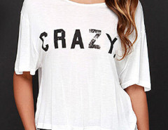 White Letter Print Cross Backless Frill Trim T-shirt Choies.com online fashion store United Kingdom Europe