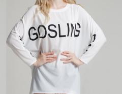 White Letter Print Long Sleeve Hi-lo Blouse Choies.com online fashion store United Kingdom Europe