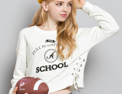 White Letter Print Long Sleeve Lace Up Sweatshirt Choies.com online fashion store United Kingdom Europe