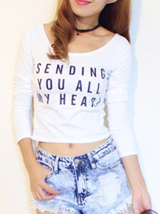 White Letter Print Long Sleeve Tight Crop T-shirt Choies.com online fashion store United Kingdom Europe