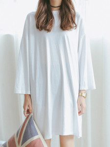 White Long Sleeve Side Split T-shirt Dress Choies.com online fashion store United Kingdom Europe