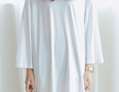 White Long Sleeve Side Split T-shirt Dress Choies.com online fashion store United Kingdom Europe