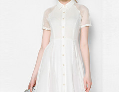 White Mesh Insert Short Sleeve Midi Shirt Dress Choies.com online fashion store United Kingdom Europe