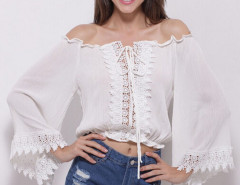 White Off Shoulder Crochet Lace Up Flare Sleeve Crop Top Choies.com online fashion store United Kingdom Europe
