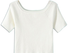 White Off Shoulder Short Sleeve Tight Knitted Crop Top Choies.com online fashion store United Kingdom Europe
