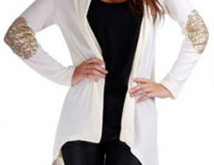 White Patch Elbow Sequin Detail Long Sleeve Waterfall Cardigan Choies.com online fashion store United Kingdom Europe