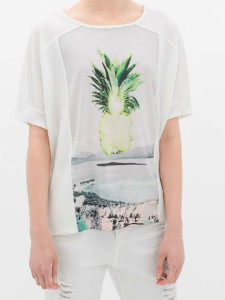 White Pineapple Pattern Short Sleeve T-shirt Choies.com online fashion store United Kingdom Europe