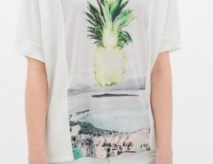 White Pineapple Pattern Short Sleeve T-shirt Choies.com online fashion store United Kingdom Europe