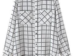 White Plaid Pocket Detail Long Sleeve Shirt Choies.com online fashion store United Kingdom Europe