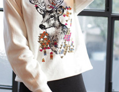 White Reindeer Pattern High Neck Long Sleeve Sweatshirt Choies.com online fashion store United Kingdom Europe