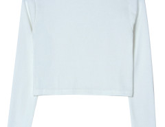 White Round Neck Cut Out Long Sleeve T-shirt Choies.com online fashion store United Kingdom Europe