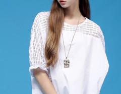 White Sheer Check Puff Sleeve Ruffle Blouse Choies.com online fashion store United Kingdom Europe