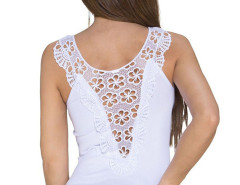 White Sheer Crochet Lace Detail Tight Vest Choies.com online fashion store United Kingdom Europe