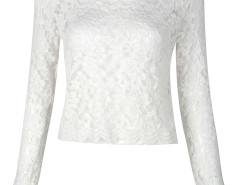White Sheer Crochet Lace Long Sleeve Crop Top Choies.com online fashion store United Kingdom Europe
