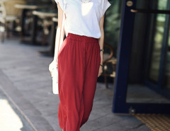 White Sheer Insert Blouse And Red Button Front Midi Skirt Choies.com online fashion store United Kingdom Europe