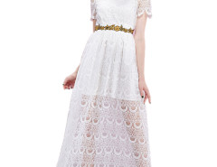 White Sheer Stand Collar Short Sleeve Waist Belt Lace Prom Dress Choies.com online fashion store United Kingdom Europe