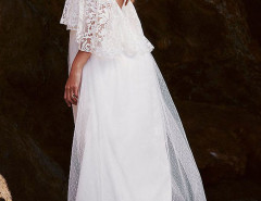 White Spaghetti Strap Lace Layered Top Mesh Overlay Maxi Dress Choies.com online fashion store United Kingdom Europe