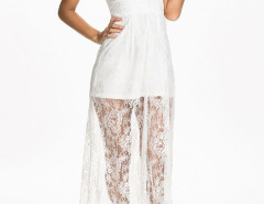 White Spaghetti Strap Sweetheart Sheer Lace Overlay Maxi Dress Choies.com online fashion store United Kingdom Europe
