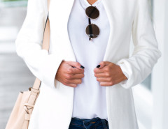 White Stand Collar Long Sleeve Slim Blazer Choies.com online fashion store United Kingdom Europe