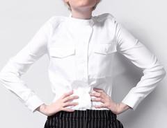 White Stand Collar Pocket Detail Slim Shirt Choies.com online fashion store United Kingdom Europe