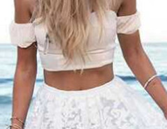 White Strapless Crop Top And High Wiast Lace Skater Midi Skirt Choies.com online fashion store United Kingdom Europe
