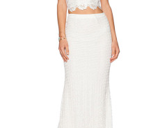 White Strappy Back Cross Lace Crop Top And High Waist Maxi Skirt Choies.com online fashion store United Kingdom Europe