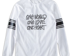 White Stripe And Letter Print Long Sleeve T-shirt Choies.com online fashion store United Kingdom Europe