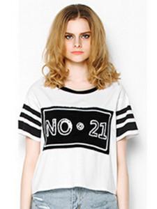 White Stripe And Sequin No.21 T-shirt Choies.com online fashion store United Kingdom Europe