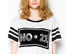 White Stripe And Sequin No.21 T-shirt Choies.com online fashion store United Kingdom Europe