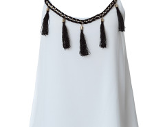 White Tassel Detail Layer Cami Vest Choies.com online fashion store United Kingdom Europe