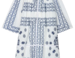 White Tile Print Off Shoulder 3/4 Sleeve Shift Dress Choies.com online fashion store United Kingdom Europe