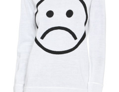 White Unhappy Face Pattern Long Sleeve Jumper Choies.com online fashion store United Kingdom Europe
