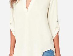White V Neck Roll Up Long Sleeve Chiffon Blouse Choies.com online fashion store United Kingdom Europe