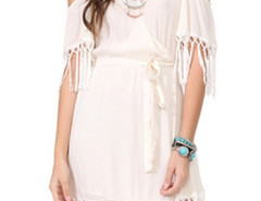 White V Neck Wrap Front Cold Shoulder Fringe Trim Dress Choies.com online fashion store United Kingdom Europe