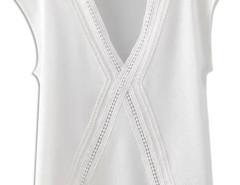 White V-neck Lattice Cross Panel Chiffon Blouse Choies.com online fashion store United Kingdom Europe