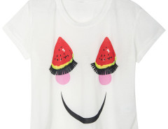White Watermelon And Face Print PU Fringe Embellished T-shirt Choies.com online fashion store United Kingdom Europe