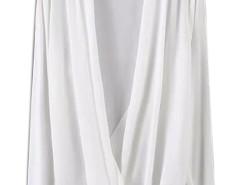 White Wrap Drape V-neck Long Sleeve Blouse Choies.com online fashion store United Kingdom Europe