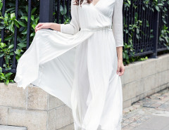 White Wrap Front Drawstring Waist Layered Split Skater Dress Choies.com online fashion store United Kingdom Europe