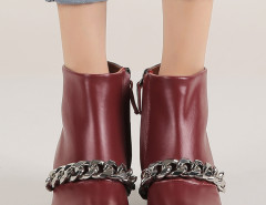 Wine Red Chunky Chain Zip Ankle Boots Choies.com online fashion store United Kingdom Europe