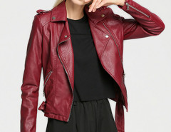Wine Red Epaulet Lapel Zip Detail Belt Waist Biker Jacket Choies.com online fashion store United Kingdom Europe